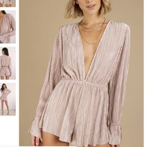 silky long sleeve champagne/pink romper